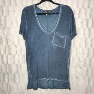 "Free People ""Rising Sun"" Blue Burn Out Tee Shirt"